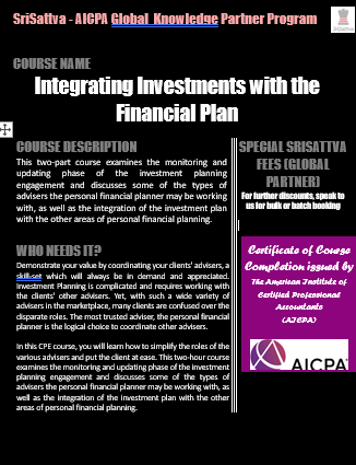Integrating Investments with the Financial Plan